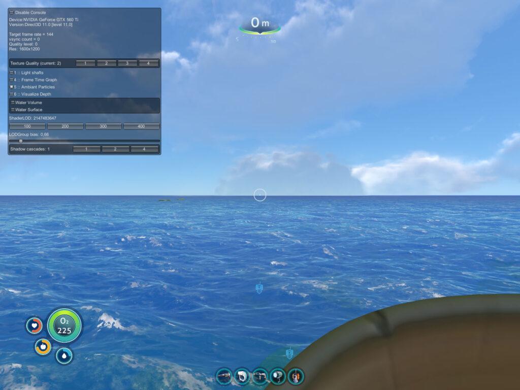 consola de comandos subnautica